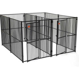 """Lucky Dog European Style Modular Dog Kennel 2 Run With Common Wall 72""""H x 60""""W x 120""""L, Black"""