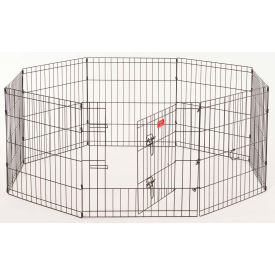 """Lucky Dog Heavy Duty Dog Exercise Pen With Stakes 24""""W x 24""""H, Black"""