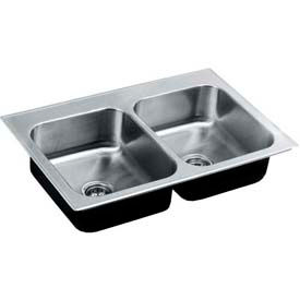 Just Mfg Double Bowl, Drop In, Continental, 20 Ga., SS Sink, CDL2133B1