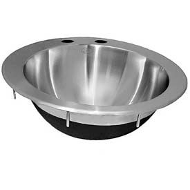 Just Mfg Lavatory, Drop In, Circular Bowl, 18 Ga., W/Overflow, Ada, SS Sink, CLRADA14-2