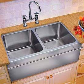 Sinks Double Bowl, Undermount, 18 Ga. W/Apron & Towel Bar SS Sink ...