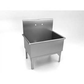 """Just Mfg Government Scullery Sink WW-P-541B, One Compartment, 14 Ga. 15"""" Backsplash, 16""""D, MN-36-2"""