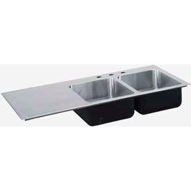 Just Mfg Sink Insert, Drop In, Double Bowl, Single Drainboard Left- 18 Ga., SI3049AL3