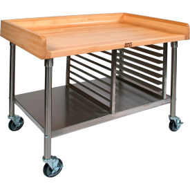 "John Boos 72""W x 30""D Maple Top Mobile Prep Table with Stainless Steel Legs, Shelf and Pan Rack"