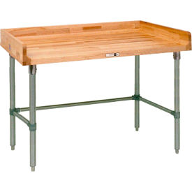 """John Boos DNB08  60""""W x 30""""D Maple Top Table with Galvanized Legs and Bracing"""