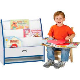 Jonti-Craft® Rainbow Accents® Toddler Pick-a-Book Stand - 1 Sided - Gray Top/Teal Edge
