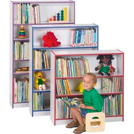 "Jonti-Craft® Rainbow Accents® Bookcase - 36"" High - Gray Top/Blue Edge"