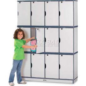 "Jonti-Craft® Lockable Lockers, Triple Stack, 48-1/2""Wx15""Dx67""H, Gray Laminate, Navy Edge"