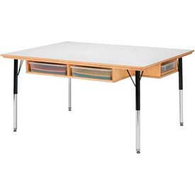 """Jonti-Craft® Table With Storage For Six - 15"""" - 24"""" Ht - With Colored Paper-Trays"""