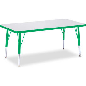 "Berries® Rectangle Activity Table, 48""W x 24""L x 11"" To 15""H, Prism Green"