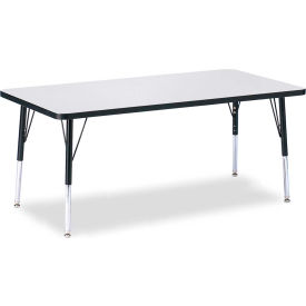 """Berries® Rectangle Activity Table, 30""""W x 60""""L x 15"""" To 24""""H, Classic Gray"""
