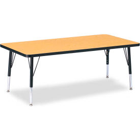 """Berries® Rectangle Activity Table, 30""""W x 60""""L x 11"""" To 15""""H, Classic Oak"""