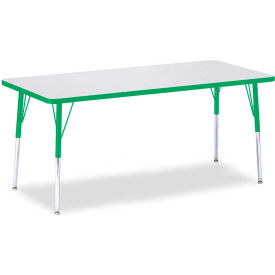 """Berries® Rectangle Activity Table, 72""""W x 30""""L x 24-31""""H, Prism Green"""