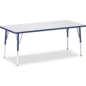 """Berries® Rectangle Activity Table, 72""""W x 30""""L x 15"""" To 24""""H, Prism Navy"""