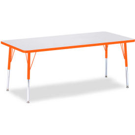 """Berries® Rectangle Activity Table, 72""""W x 30""""L x 15"""" To 24""""H, Prism Orange"""