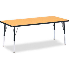 """Berries® Rectangle Activity Table, 72""""W x 30""""L x 15"""" To 24""""H, Classic Oak"""