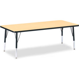 """Berries® Rectangle Activity Table, 72""""W x 30""""L x 11"""" To 15""""H, Classic Maple"""
