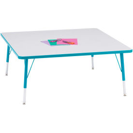 "Berries® Square Activity Table, 48""W x 48""L x 15"" To 24""H, Prism Teal"