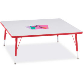 """Berries® Square Activity Table, 48""""W x 48""""L x 11"""" To 15""""H, Prism Red"""