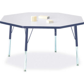 """Berries® Octagon Activity Table, 48""""W x 48""""L x 15"""" To 24""""H, Prism Navy"""