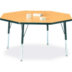 """Berries® Octagon Activity Table, 48""""W x 48""""L x 15"""" To 24""""H, Classic Oak"""