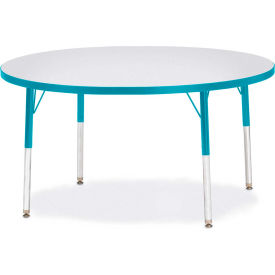 "Berries® Round Activity Table, 48""W x 48""L x 24-31""H, Prism Teal"