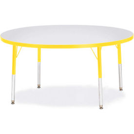 """Berries® Round Activity Table, 48""""W x 48""""L x 15"""" To 24""""H, Prism Yellow"""