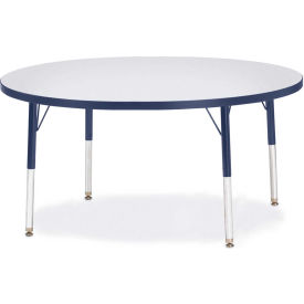 """Berries® Round Activity Table, 48""""W x 48""""L x 15"""" To 24""""H, Prism Navy"""