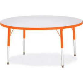 "Berries® Round Activity Table, 48""W x 48""L x 15"" To 24""H, Prism Orange"