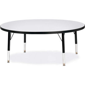 """Berries® Round Activity Table, 48""""W x 48""""L x 11"""" To 15""""H, Classic Gray"""