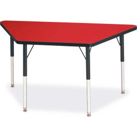 """Berries® Trapezoid Activity Tables, 24""""W x 48""""L x 24-31""""H, Classic Red"""