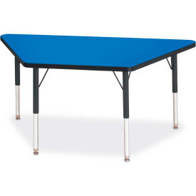"Berries® Trapezoid Activity Tables, 24""W x 48""L x 15"" To 24""H, Classic Blue"