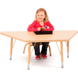 """Berries® Trapezoid Activity Tables, 24""""W x 48""""L x 15"""" To 24""""H, Prism Maple"""