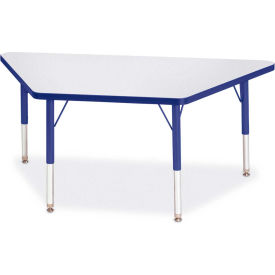 "Berries® Trapezoid Activity Tables, 24""W x 48""L x 11"" To 15""H, Prism Blue"