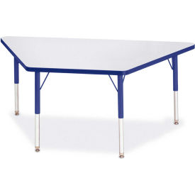 "Berries® Trapezoid Activity Tables, 60""W x 30""L x 15"" To 24""H, Prism Blue"