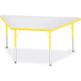 "Berries® Trapezoid Activity Tables, 60""W x 30""L x 15"" To 24""H, Prism Yellow"