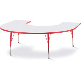 """Berries® Horseshoe Activity Table, 60""""W x 66""""L x 24"""" To 31""""H, Prism Red"""