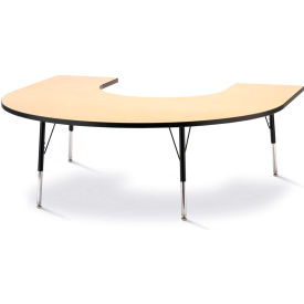 """Berries® Horseshoe Activity Table, 60""""W x 66""""L x 24"""" To 31""""H, Classic Maple"""