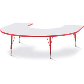 """Berries® Horseshoe Activity Table, 60""""W x 66""""L x 11"""" To 15""""H, Prism Red"""