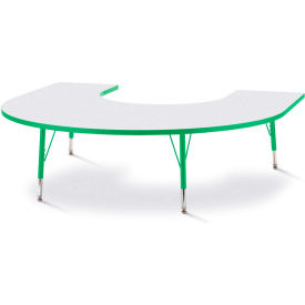 """Berries® Horseshoe Activity Table, 60""""W x 66""""L x 11"""" To 15""""H, Prism Green"""