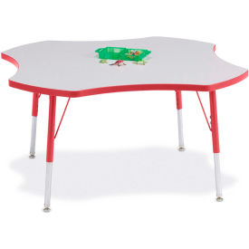 "Berries® Four Leaf Activity Table, 48""W x 48""L x 24-31""H, Prism Red"