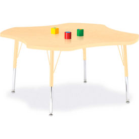 "Berries® Four Leaf Activity Table, 48""W x 48""L x 15"" To 24""H, Prism Maple"