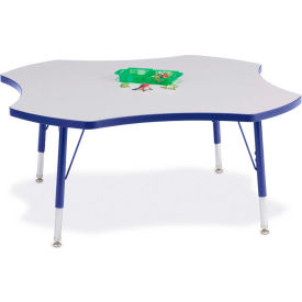 """Berries® Four Leaf Activity Table, 48""""W x 48""""L x 11"""" To 15""""H, Prism Blue"""