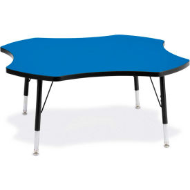 """Berries® Four Leaf Activity Table, 48""""W x 48""""L x 11"""" To 15""""H, Classic Blue"""