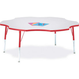"Berries® Six Leaf Activity Table, 60""W x 60""L x 24-31""H, Prism Red"