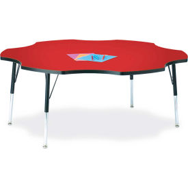 "Berries® Six Leaf Activity Table, 60""W x 60""L x 24-31""H, Classic Red"