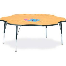 "Berries® Six Leaf Activity Table, 60""W x 60""L x 24-31""H, Classic Oak"