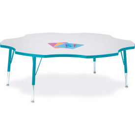 "Berries® Six Leaf Activity Table, 60""W x 60""L x 11"" To 15""H, Prism Teal"