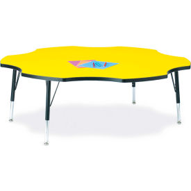 """Berries® Six Leaf Activity Table, 60""""W x 60""""L x 11"""" To 15""""H, Classic Yellow"""