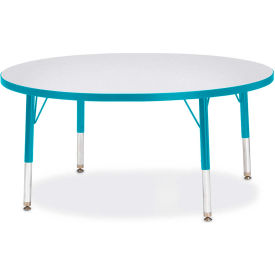 """Berries® Round Activity Table, 42""""W x 42""""L x 11"""" To 15""""H, Prism Teal"""
